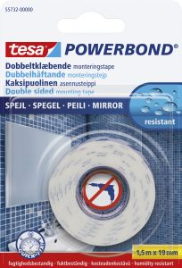 Asennusteippi Tesa 2-puolinen Powerbond Mirror Peileille 1,5 m x 19 mm