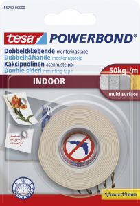 Asennusteippi Tesa Powerbond 2-puolinen  Indoor sisäkäyttöön 1,5 m x 19 mm