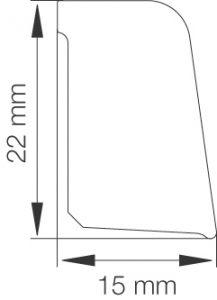 Mattolista Primo 5065 15 x 22 x 2500 mm alumiini