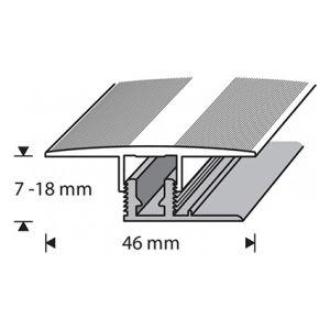 Saumalista Dione 46 mm hopea-anodisoitu 90 cm