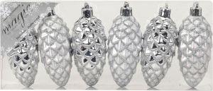 Joulukuusenkoriste käpy 9 cm 6 kpl hopea