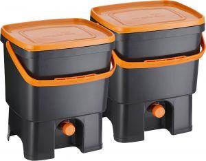 Bokashi Organko keittiökompostori 2 x 16 l musta/oranssi
