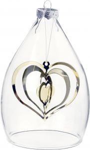 Kuusenkoriste lasiastiassa 12 cm sydän