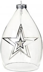 Kuusenkoriste lasiastiassa 12 cm tähti