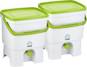 Bokashi Organko keittiökompostori 2 x 16 l valkoinen/vihreä