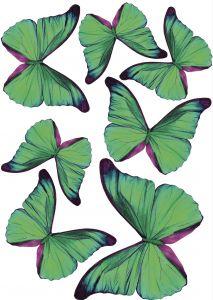 Seinätarra Plage 3D Vihreät Perhoset