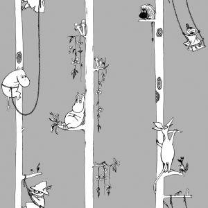 Kuitutapetti Moomin Muumit puussa Harmaa