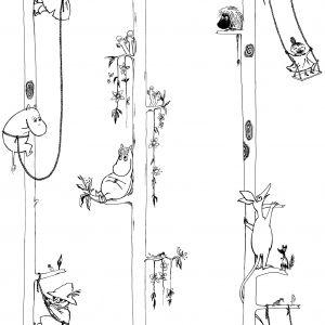Kuitutapetti Moomin Muumit puussa Valkoinen