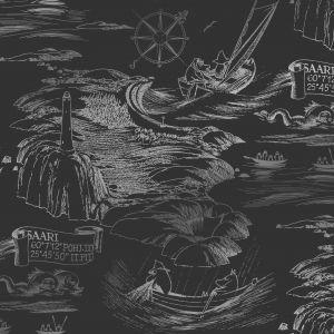 Kuitutapetti Moomin Meri Musta-hopea
