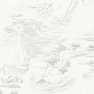 Kuitutapetti Moomin Meri Valko-harmaa