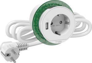 Pöytäpistorasia+USB Schneider Unica System+ Valkoinen