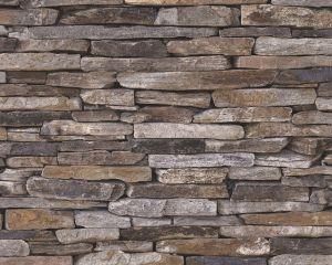 Kuitutapetti Wood`n Stone Kiviseinä Ruskea