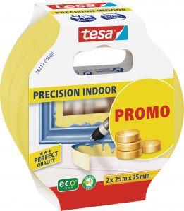 Maalarinteippi Tesa Precision Indoor 25 m x 25 mm Keltainen 2 kpl