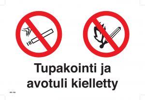 Huomiokyltti Tupakointi Ja Avotuli kielletty