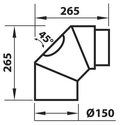 Liitosputki Aduro musta 2 x 45 ast. 265X265 mm. Puhdistusluukulla.