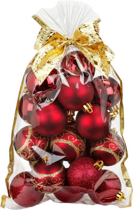 Joulupallo 20 kpl Ø 6 cm burgundi