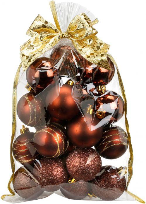Joulupallo 20 kpl Ø 6 cm ruskea