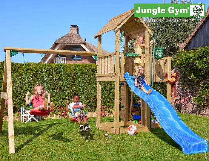 Leikkitorni Jungle Gym Mansion + Swing Module Xtra