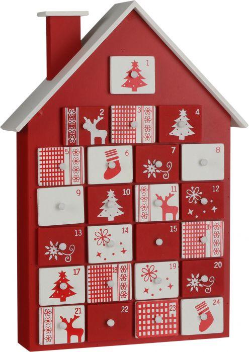 Joulukalenteritalo punavalkoinen